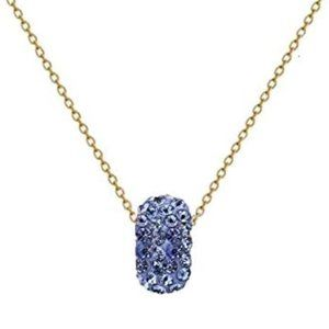 Gold Plated High Shine CZ Charm Necklace December